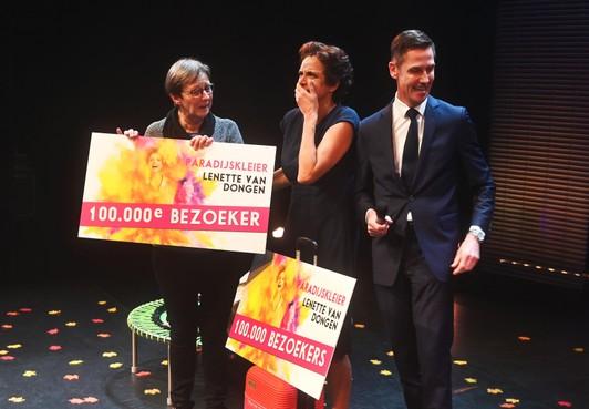 Marian Kan-Jonkman is gek op cabaretière Lenette van Dongen, 100.000ste bezoeker in Park Hoorn
