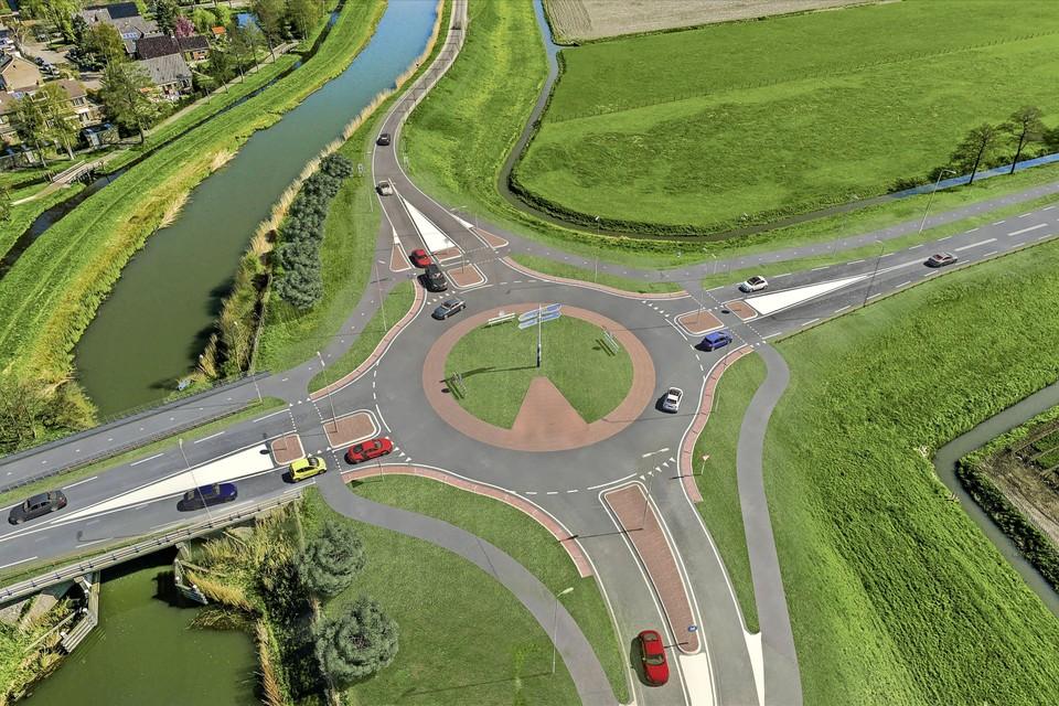 Impressie van hoe de nieuwe rotonde in de N243 bij de Westdijk, bij Schermerhorn, er komt uit te zien.