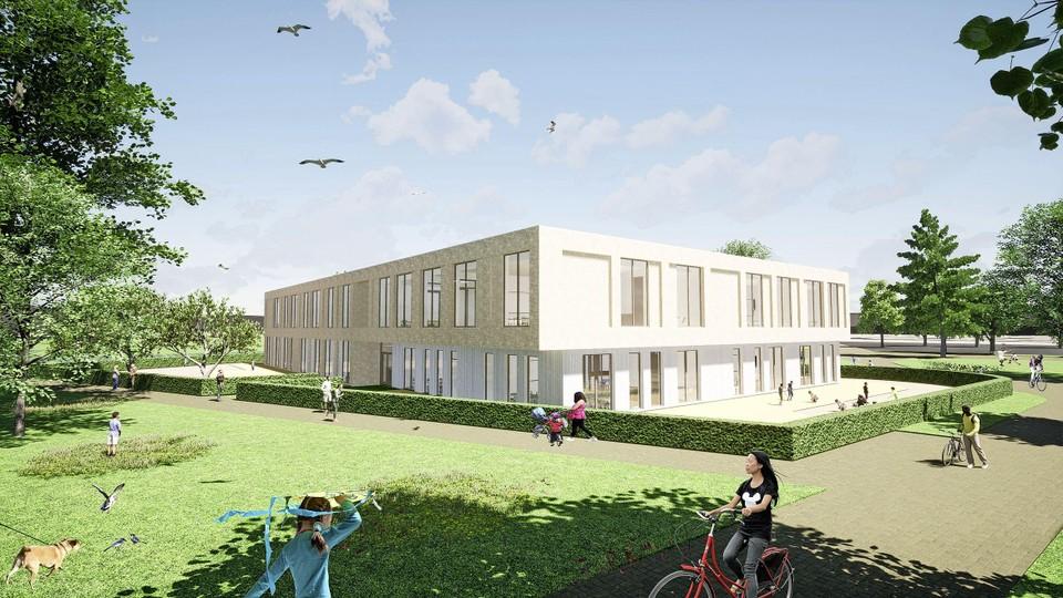 Het nieuwe schoolgebouw voor nul tot twaalfjarigen dat onderdeel uitmaakt van Campus De Terp.