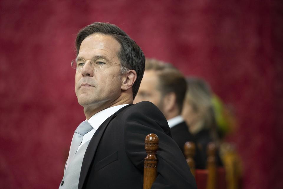 Demissionair premier Mark Rutte op Prinsjesdag voorafgaand aan het voorlezen van de Troonrede.