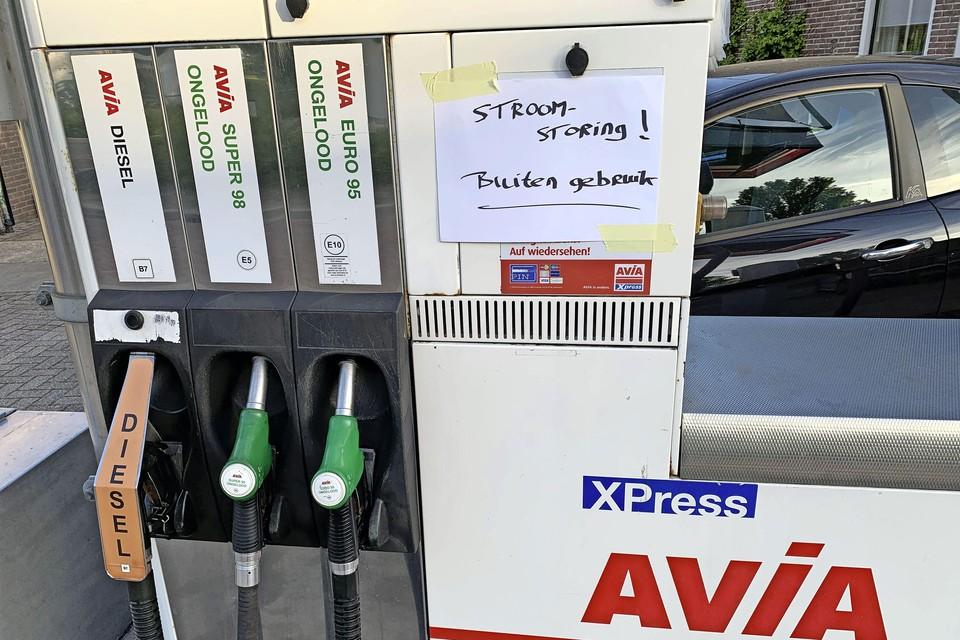 Benzine tanken is er deze woensdagavond door de stroomstoring ook niet meer bij in Zijdewind.