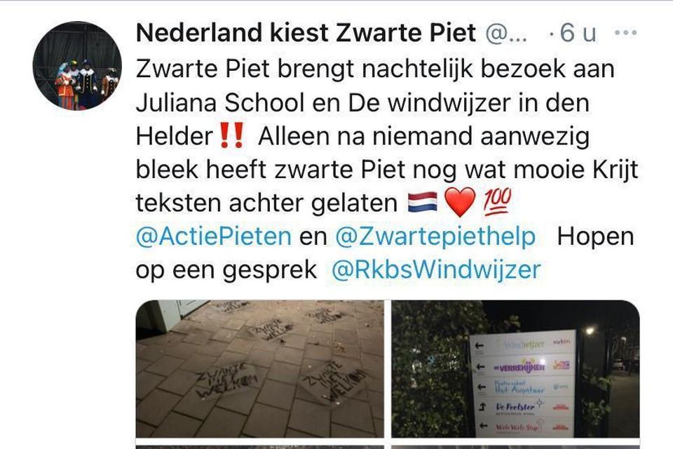 Op Facebook geven voorstanders van Zwarte Piet ruchtbaarheid aan de nachtelijke actie.