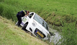 Auto ondersteboven aangetroffen in Oterleek. Inzittenden nergens te bekennen, hulpdiensten kunnen weer naar huis