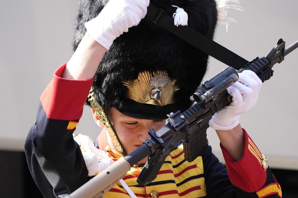 Lis van de militaire erewacht bij de Grote of Sint-Jacobskerk op Prinsjesdag.