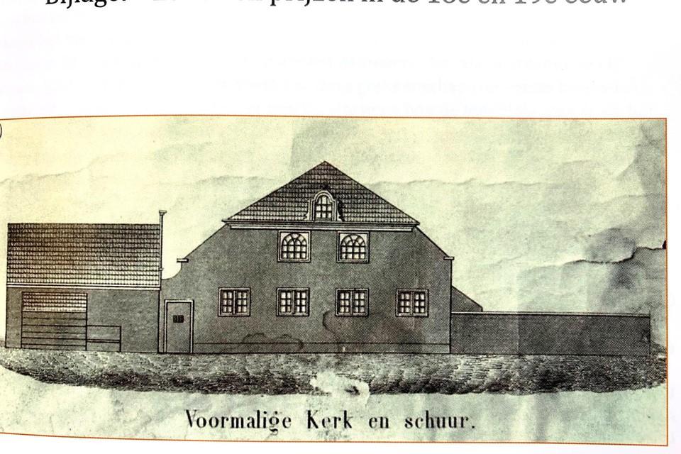 De schuurkerk die waarschijnlijk in 1727 in het Kerckbos achter de Dusseldorperweg is neergezet.