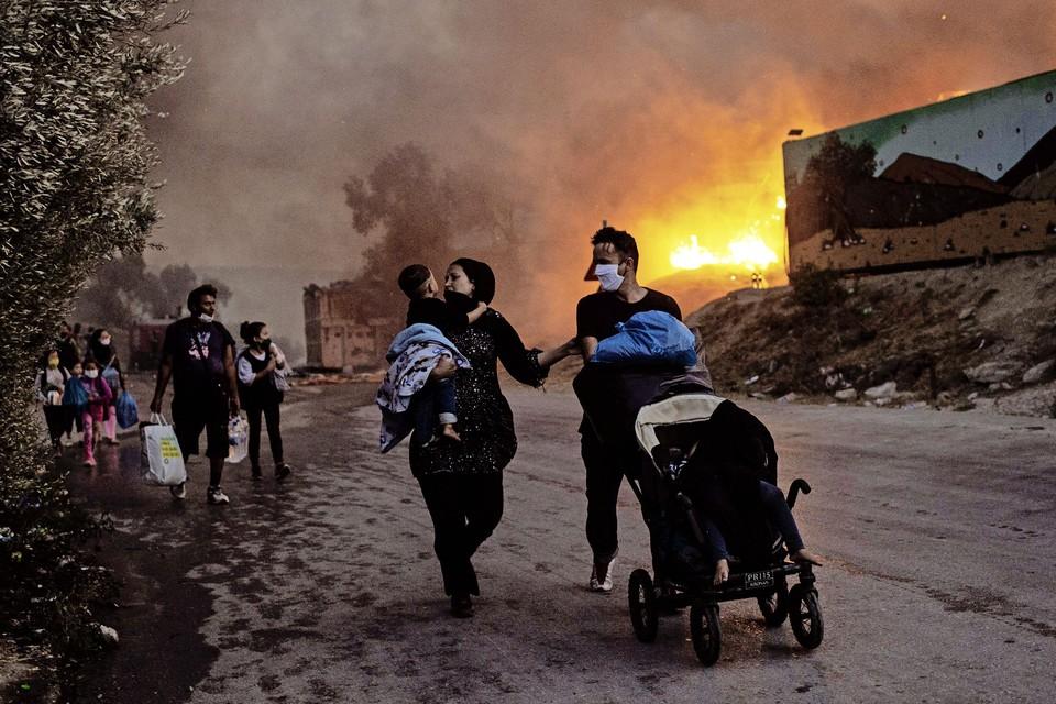 In kamp Moria op Lesbos zaten voornamelijke gezinnen.