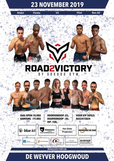 Tijdens Road2Victory moet ook de zesde tegenstander van kickbokser Robin Gonggrijp gewoon neer