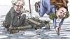 Zo in je uppie is het opeens een heel eind naar Amsterdam   cartoon Frank Muntjewerf
