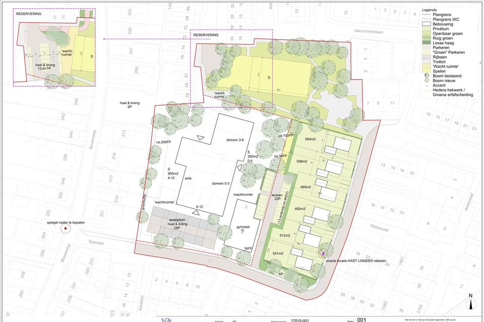 Het plan aan de Sperwer in Sint Pancras. Rechts de zes woningen, links het nieuwe schoolgebouw