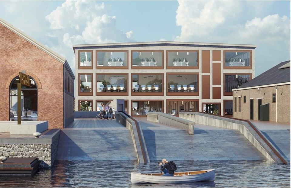Zicht op gebouw 72 vanaf de schepenhelling bij de Museumhaven. De kopse kant wordt opengewerkt met veel meer raampartijen.