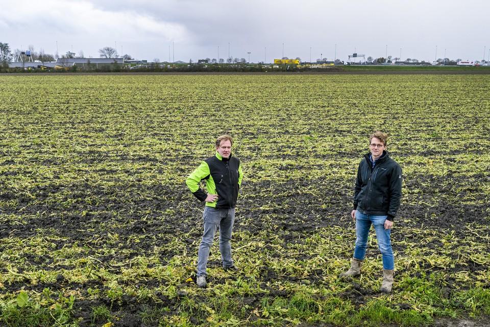 De boeren Arwin Bos en Hein van Elderen zijn twee van de vier agrarische initiatiefnemers van het zonnepark bij Zwanenburg op hun eigen land.