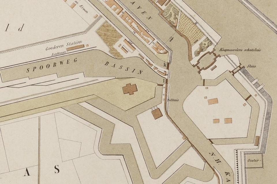 Kaart uit 1894 met rechtsonder zuid van fort Oostoever de oesterputten.