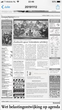 Ook in de krant op Curaçao wordt nu gevraagd naar de herkomst van Bouhuijs' Volendams kermistafereel