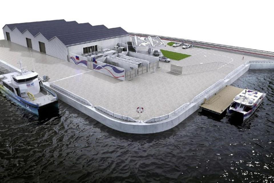 Een tankstation waar vaartuigen waterstof kunnen laden. Zoiets komt ook in Den Helder.