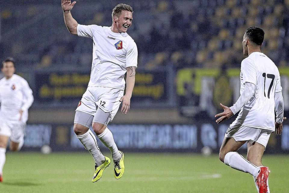Maart 2015: Kevin van Essen als speler van Telstar, juichend na een doelpunt tegen Roda JC.