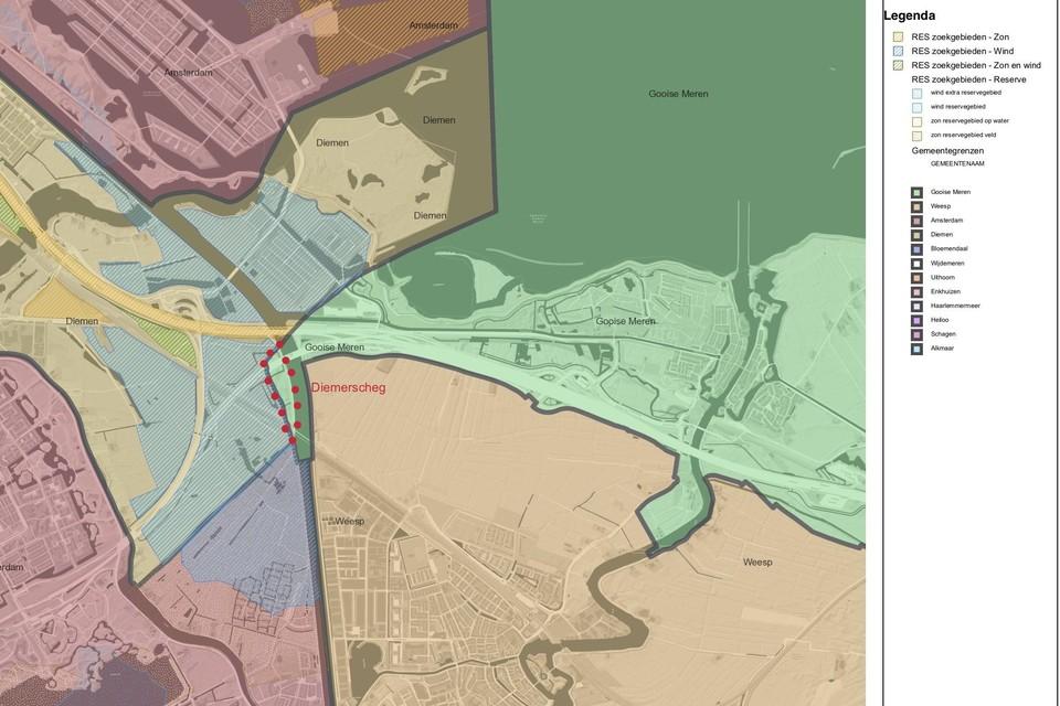 Tussen de rode punten het grondgebied van Gooise Meren waaraan de windmolens moeten gaan grenzen.