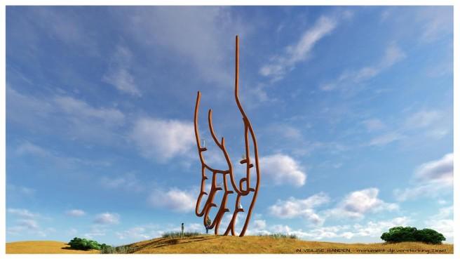 Kunstwerk 'In veilige handen' torent vanaf dit najaar boven Texelse veerhaven uit