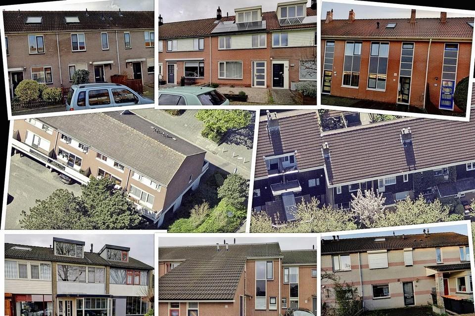 Woningen in Hoorn waarvoor eerder een vergunning is aangevraagd voor kamerverhuur aan arbeidsmigranten.