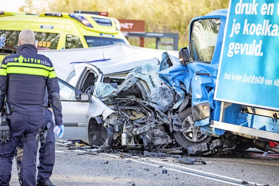 Het bewuste ongeval op de Amsterdamseweg in Velsen-Zuid.
