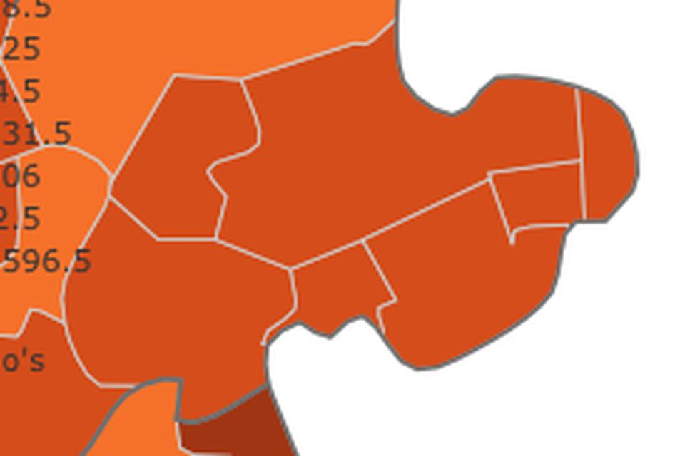 De Covid-kaart voor de regio West-Friesland.
