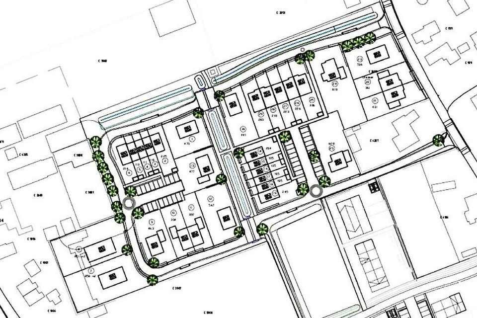Voorbeeld voor de inrichting van het nieuwe wijkje in de Limmer linten. Rechts de Kapelweg, linksonder nog net de Westerweg. Er komen vrijstaande woningen, twee-onder-een-kappers en rijtjeswoningen.