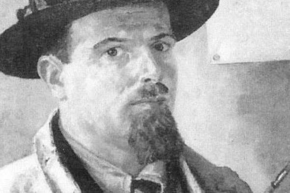 Zelfportret van kunstenaar Leo Pinkhof. Hij werd met zijn gezin uit hun woning aan de Soembastraat gezet.