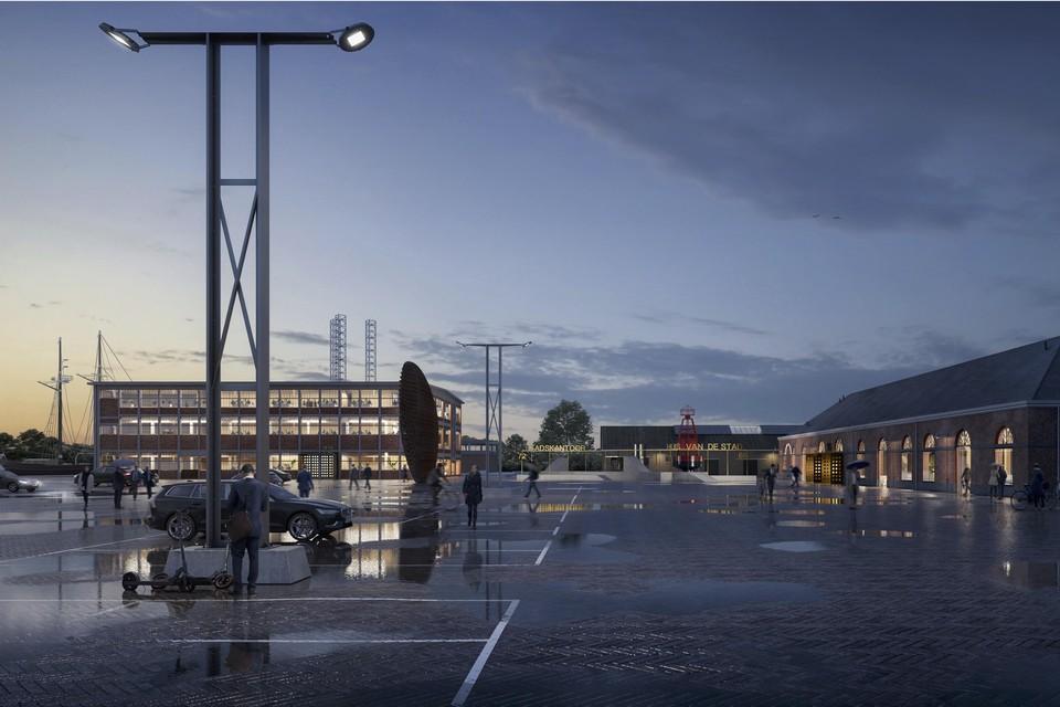 Het schetsontwerp van een stadhuis op Willemsoord zoals dat vorige week werd gepresenteerd.