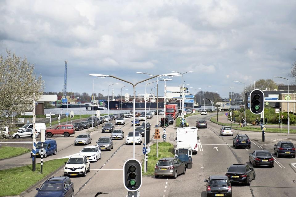 Impressie van de zaterdagse verkeersdrukte.