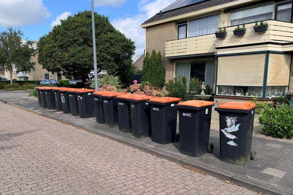 Plasticafvalbakken langs de Fruitlaan in Zwaag.