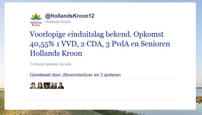 Voorlopige einduitslag verkiezingen Hollands Kroon
