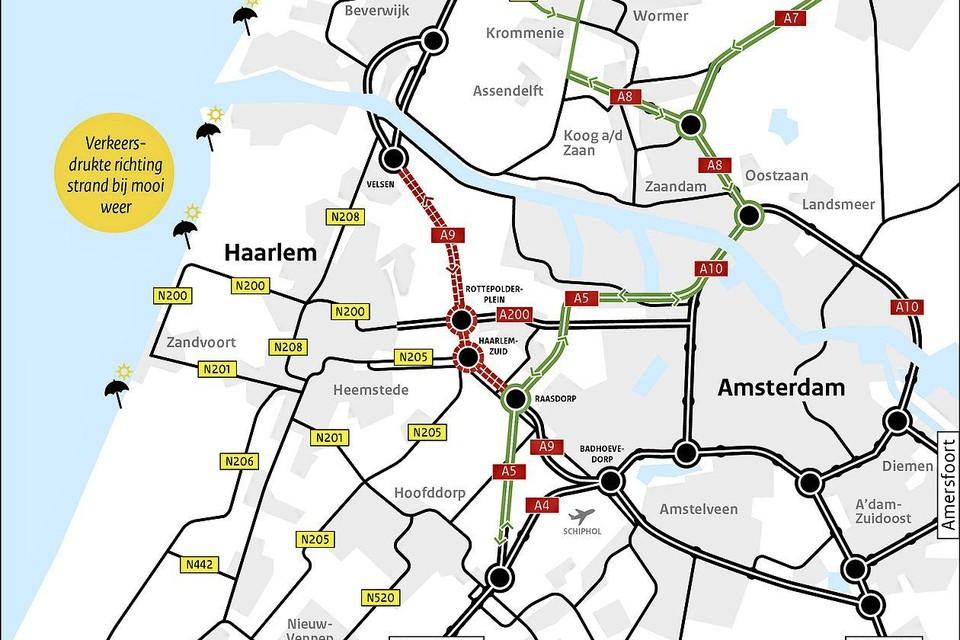 Routekaart voor de wegwerkzaamheden aan de A9.