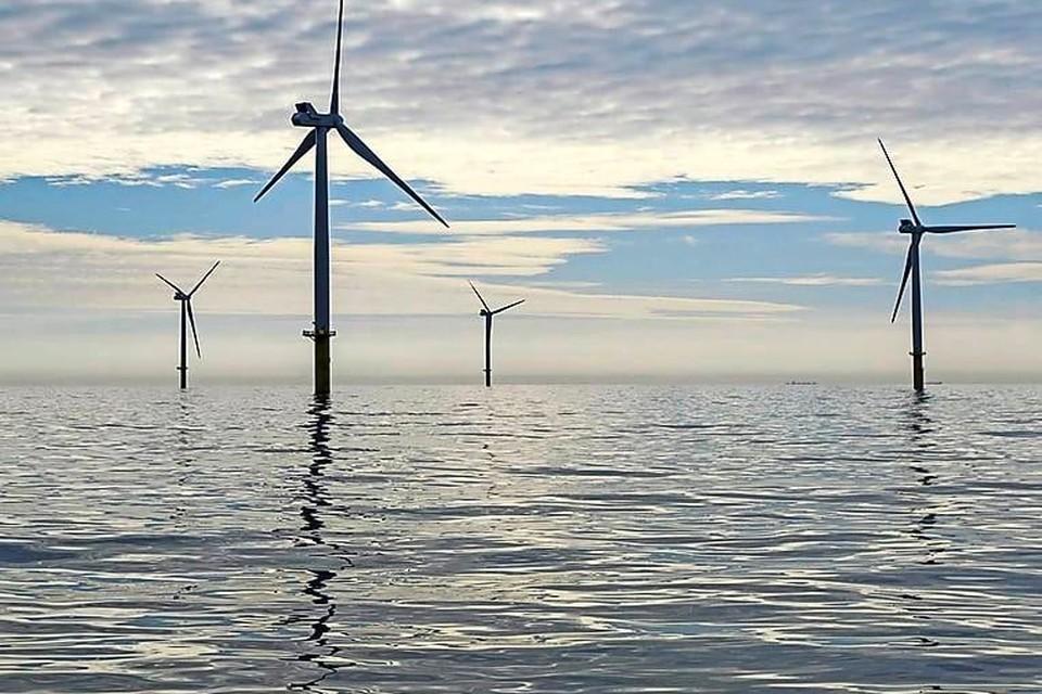 Windpark Luchterduinen in de Noordzee.