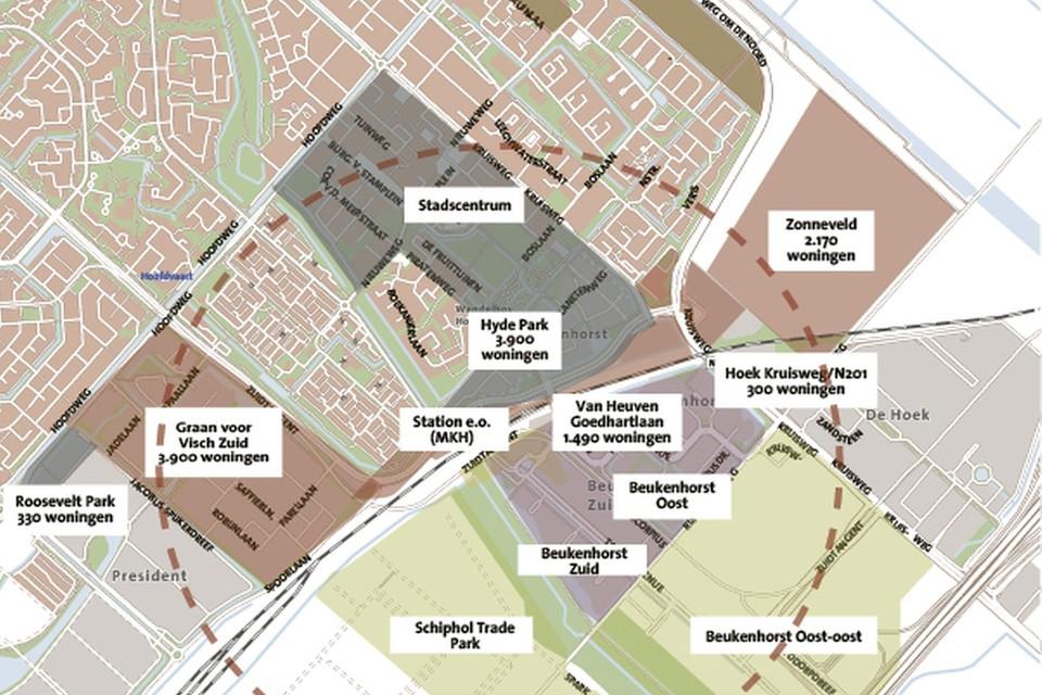Alle mogelijke bouwplannen rond het Hoofddorpse NS-station.