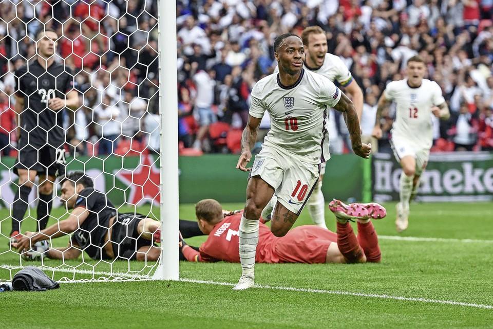 Raheem Sterling na zijn doelpunt tegen Duitsland in de achtste finale van het EK.