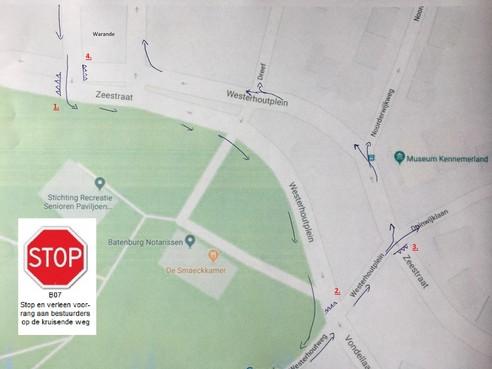 Alternatief plan voor voorgenomen rotonde op Warande/Zeestraat in Beverwijk: voorrang fietser op de kruising