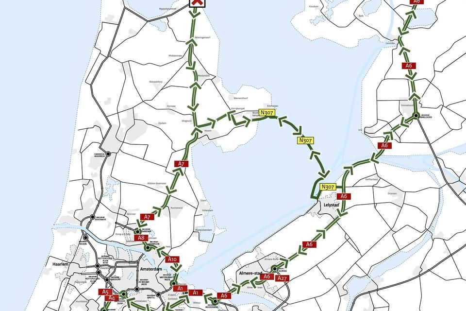 De alternatieve routes aldus Rijkswaterstaat