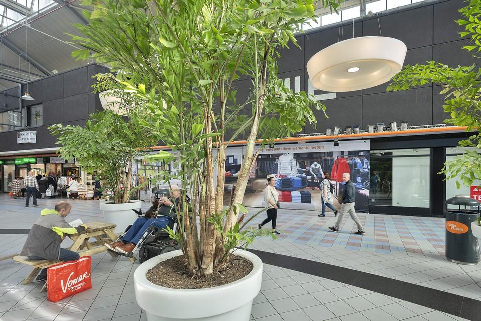 Ondanks de leegstand oogt het winkelcentrum niet kil, mede dankzij de planten en de picknicktafels.