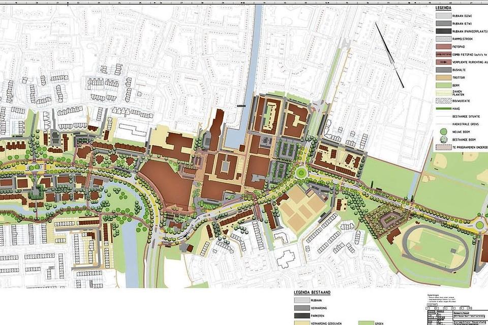 Schematische weergave van het plan voor de Oost-West-as in Huizen.