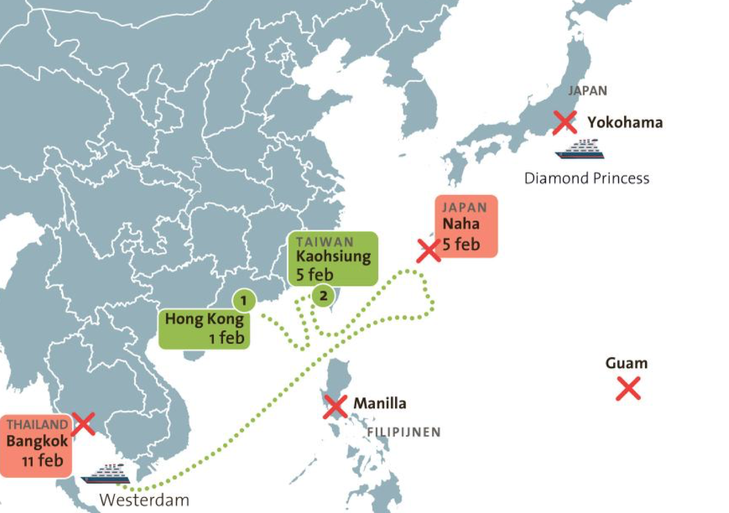 Dubbel drama voor Landsmeers gezin, zelfs nu om coronavirus geweigerd cruiseschip eindelijk mag aanmeren in haven Cambodja; Flip Knibbe: 'De rootsreis van onze zoon Yan is mislukt' [video]