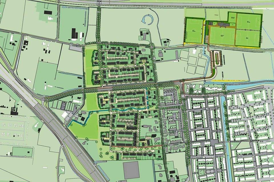 Schets van de nieuwbouwwijk Hofgeest. Linksonder de N208.