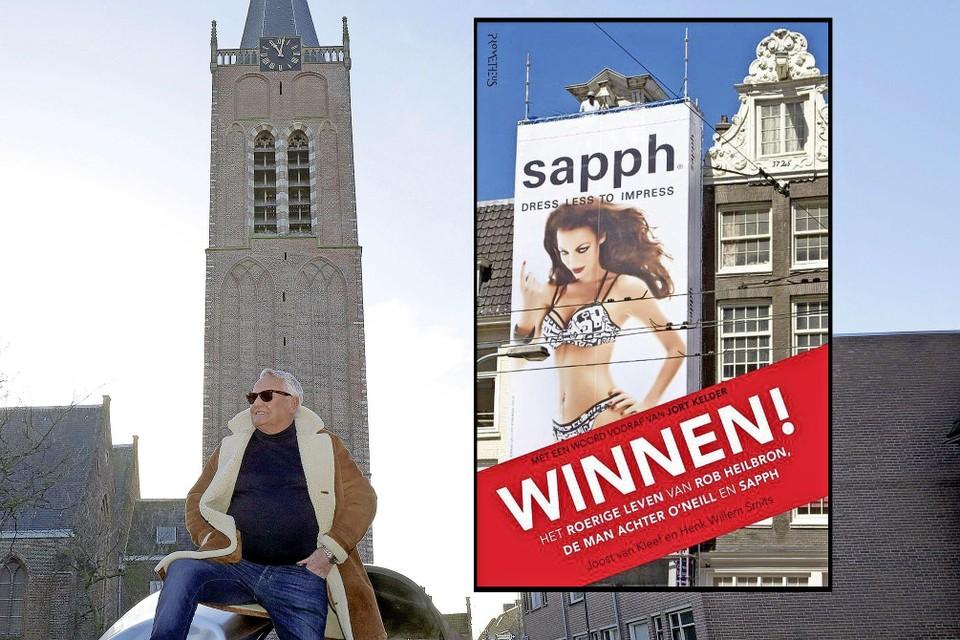Rob Heilbron onder de Wijkertoren in Beverwiujk. Inzet: de cover van 'Winnen!'