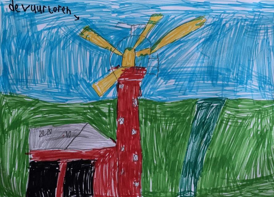 De vuurtoren zoals de 7-jarige Féline Krediet hem ziet.