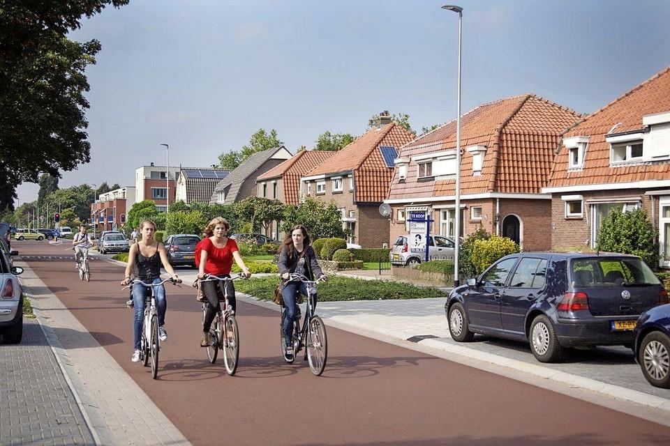 Voorbeeld van een fietsstraat. Auto's zijn daar te gast.