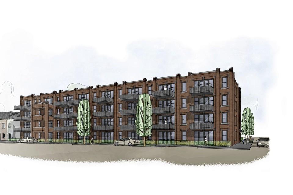 Een schetsontwerp van het nieuwe appartementengebouw.
