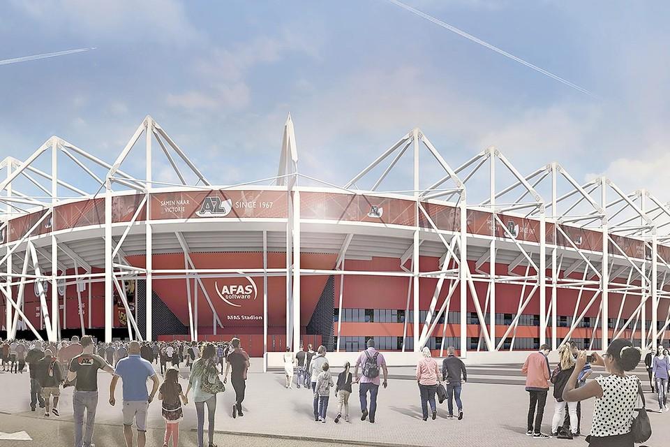 Een impressie van het AZ-stadion met een nieuwe dakconstructie.