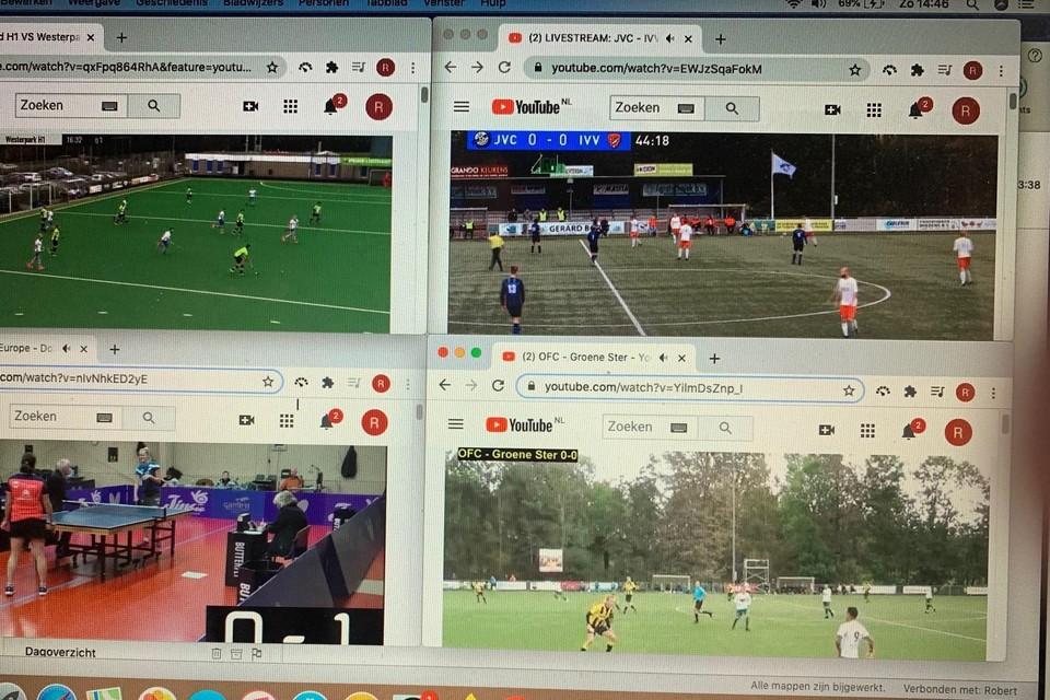 Thuis livestreams bekijken tijdens een sportweekend zonder publiek.