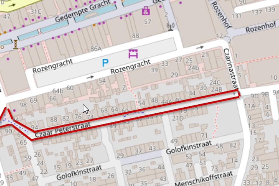 In rood de route die veel (brom)fieters nemen in plaats van de Rozengracht.